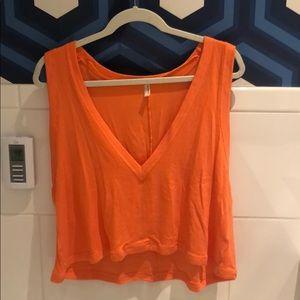 FREE PEOPLE orange cropped tank top